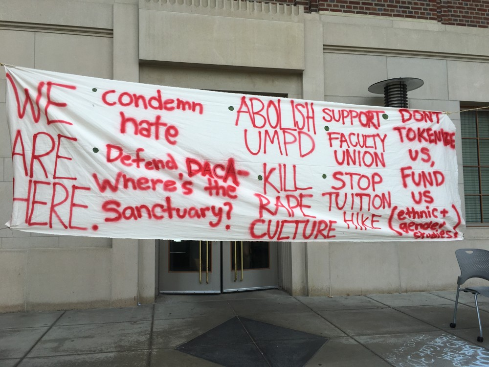 <p>A banner hangs outside Coffman Memorial Union on Wednesday, Sept. 13.</p>