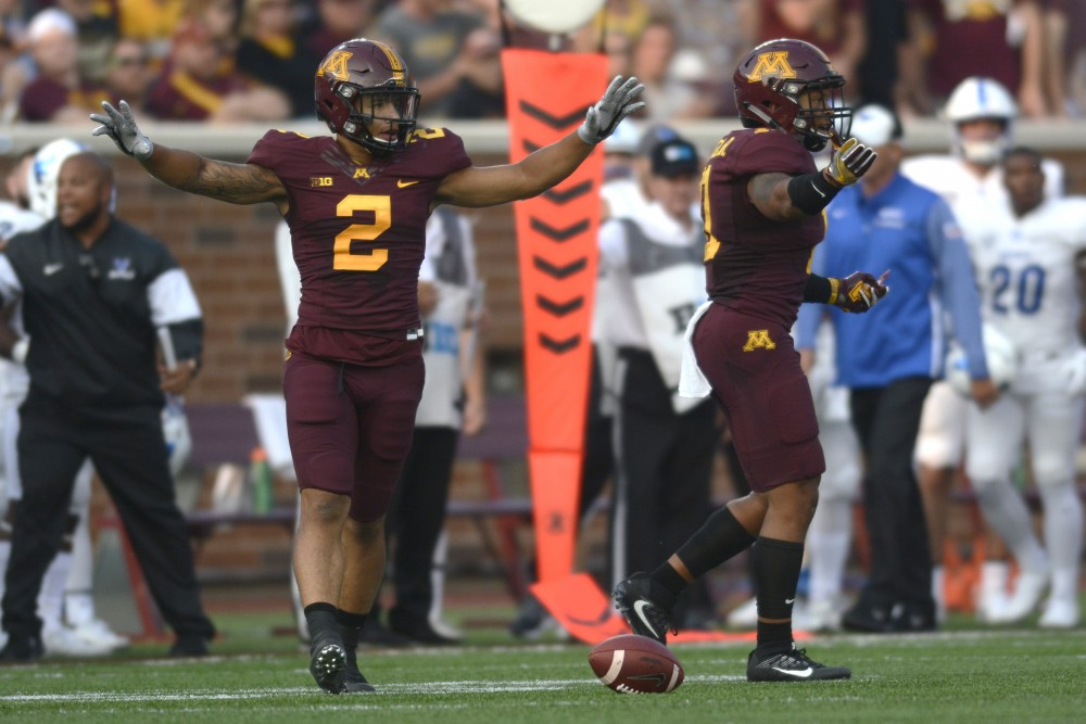 <p>Defensive back Jacob Huff celebrates after swatting down a pass on Thursday, Aug. 31, 2017 at TCF Bank Stadium in Minneapolis. The Gophers beat Buffalo 17-7.</p>