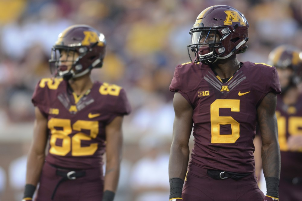 Wide receiver Tyler Johnson waits for the next play on Thursday, Aug. 31, 2017 at TCF Bank Stadium in Minneapolis. Johnson had more yards in the game against Buffalo than any other game in his career and scored the first touchdown of the night.