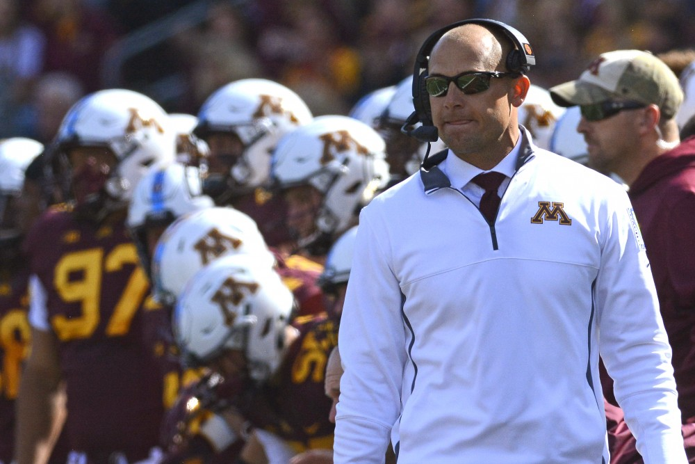 Head coach P. J. Fleck observes the game on Saturday, Sept. 30 at TCF Bank Stadium.