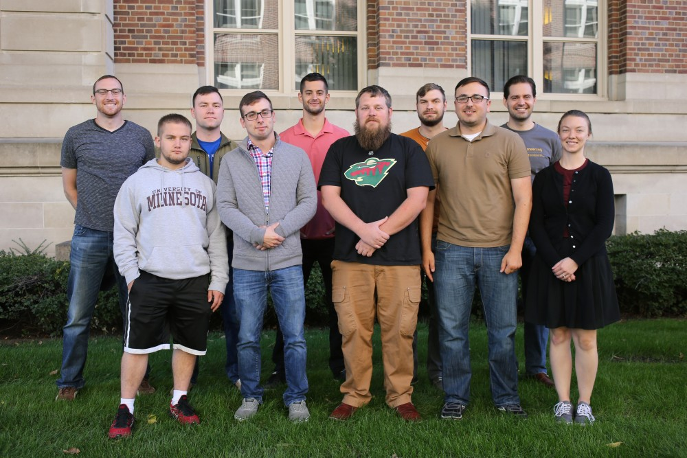 Members of the Student Veterans Association of Minnesota pose for a portrait on Friday, Sept. 29, on East Bank. The group said they struggle to recruit the more than 700 veterans on campus to their group and the Veteran's Resource Center located in Johnston Hall.