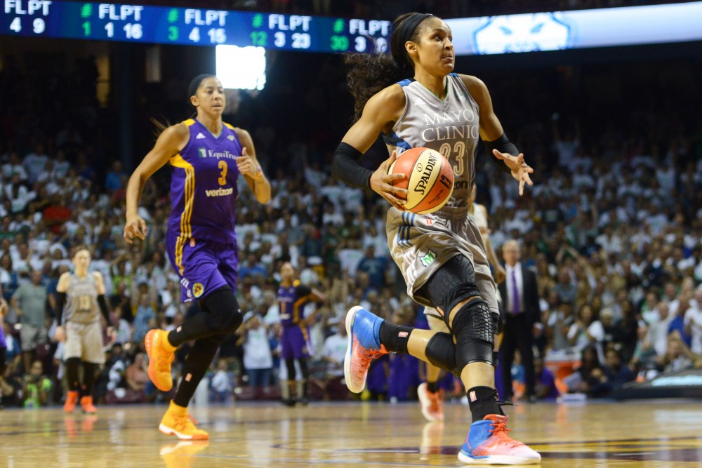 Lynx forward Maya Moore carries the ball up the court during the first game of the WNBA Finals at Williams Arena on Sept. 24. 2017. The Lynx went on to win the championship.