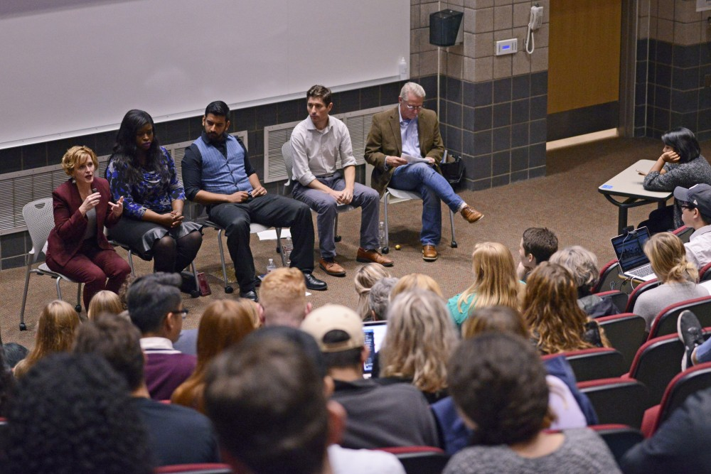 Women for Political Change, a UMN student group leads their mayoral forum, in the Molecular Cell Biology Building on East Bank on Thursday, Oct. 5. The group asked their own questions as well as questions tweeted in from audience members.