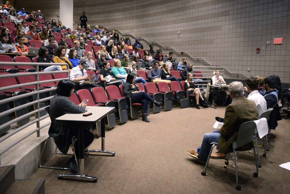 Women for Political Change, a UMN student group leads their mayoral forum in the Molecular Cell Biology Building on East Bank on Thursday. The group asked their own questions as well as questions tweeted in from audience members.