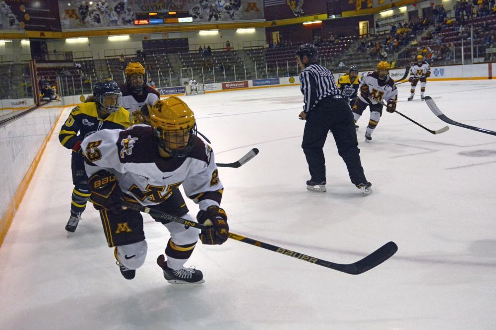 Senior forward Caitlin Reilly skates down the ice at Ridder Arena on Sept. 29.
