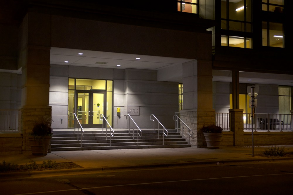 The main entrance to the 17th Avenue Residence Hall as seen Tuesday night.