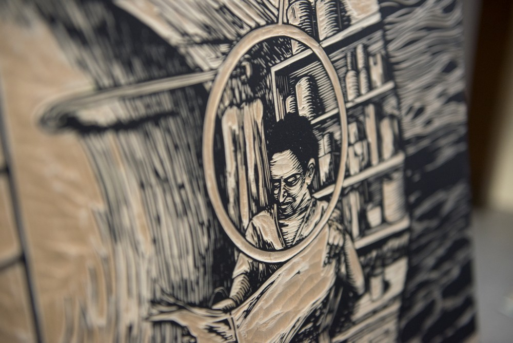 A detail of one of Edie's woodcut pieces of work. Edie is one of five emerging Minnesota artists to receive the Jerome Foundation Fellowship award this year.