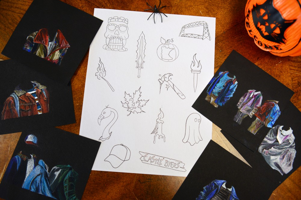A flash sheet and Stranger Things-inspired art sit on display at Lady Liberty Tattoo in St. Paul Park on Wednesday, Oct. 11. The shop will be offering discounted tattoos from flash sheets and will be hosting a Stranger Things-themed art show in honor of Friday the 13th.