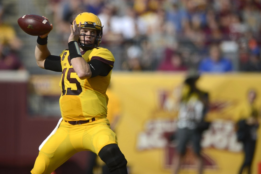 Quarterback Conor Rhoda prepares to pass the ball on Saturday, Sept. 16, 2017 at TCF Bank Stadium in Minneapolis.