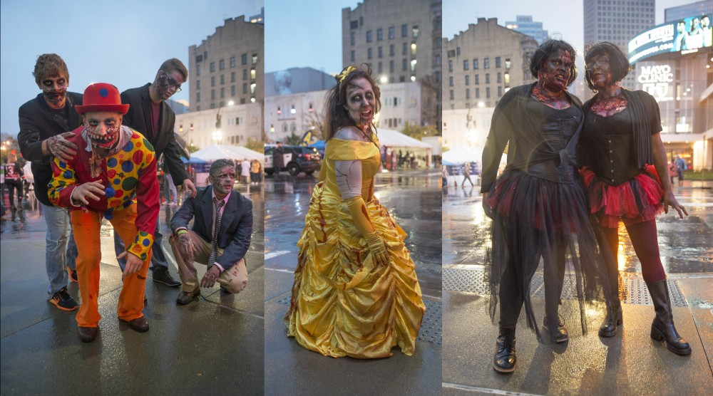 Left: Roman Chrischilles, center, poses with his friends to show off their zombie costumes during the Zombie Pub Crawl on Saturday in downtown Minneapolis.  Center: Heather Stoffregen poses as a zombie Disney princess. Right: Collette Hermes and Nicole Kendricks wear black swan inspired zombie costumes.