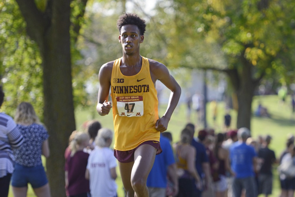 Obsa Ali competes during the Roy Griak Invitational at the Les Bolstad Golf Course in St. Paul on Saturday, Sept. 23.