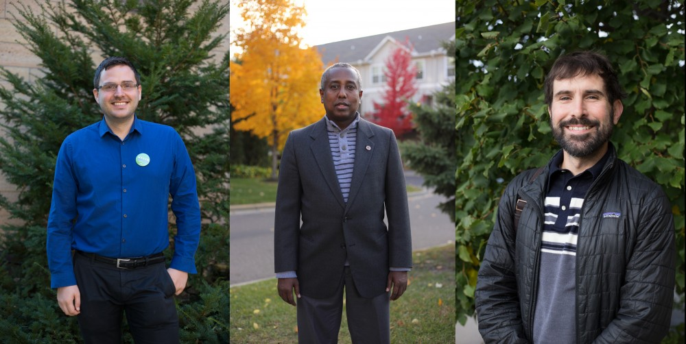 From left, Minneapolis Park Board candidates Chris Meyer, Mohamed Barre, and Billy Menz pose for portraits.