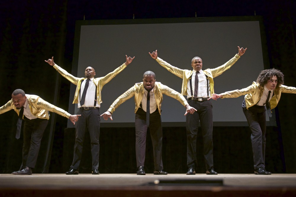 Members of the Alpha Phi Alpha fraternity's step team perform their routine for the first annual Minnesota Stampede step show at Ted Mann Concert Hall on Saturday, Oct. 21.
