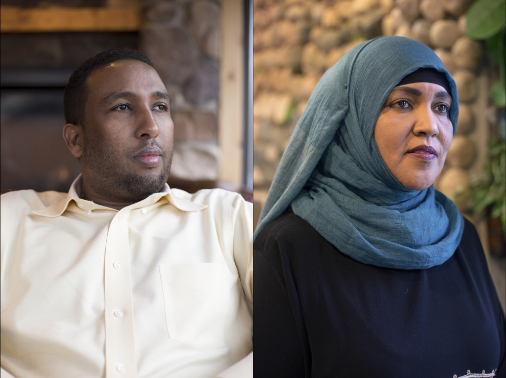 Diini Sabrie, left, and Amina Deble pose for portraits on Saturday, Oct. 21. Sabrie is grieving a close friend, Minnesota resident Ahmed AbdiKarin Eyow, who was killed in the recent bombing in Mogadishu, Somalia. Deble lost six friends in the bombing.