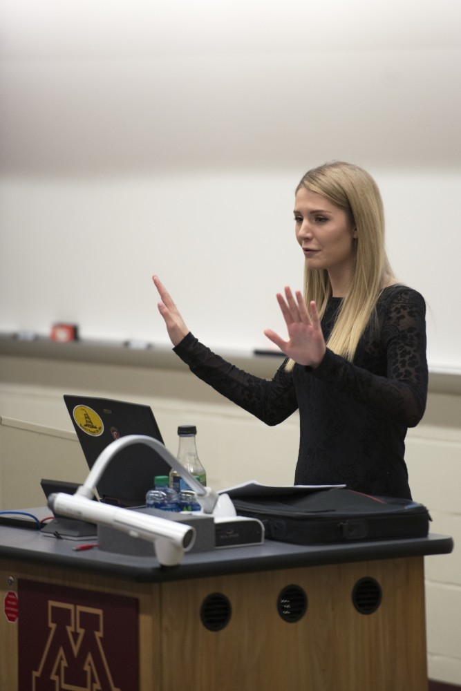 Right-wing commentator Lauren Southern gives a talk to a crowd in Anderson Hall on West Bank on Wednesday.