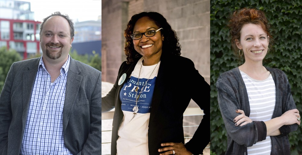 From left: Ward 3 City Council candidates Steve Fletcher, Samantha Pree-Stinson and Ginger Jentzen