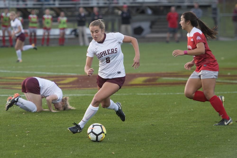 Midfielder Molly Fielder runs with the ball at the Elizabeth Lyle Robbie Stadium on Friday, Oct. 20.