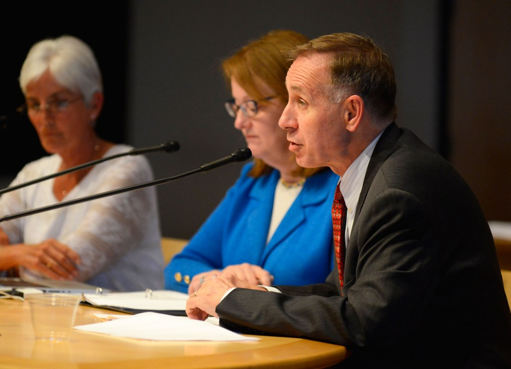 Brooks Jackson, vice president for Health Sciences and dean of the UMN Medical School, discuses long-term goals for health sciences facility upgrades at a Board of Regents meeting on July 8, 2015.