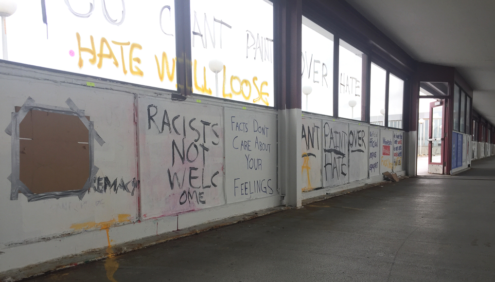 UMN student groups Turning Point USA, College Republicans and the Minnesota Republic's panels on the Washington Avenue Bridge on Saturday morning. Vandals spray-painted their murals and those of other groups, including the Bipartisan Issues Group.