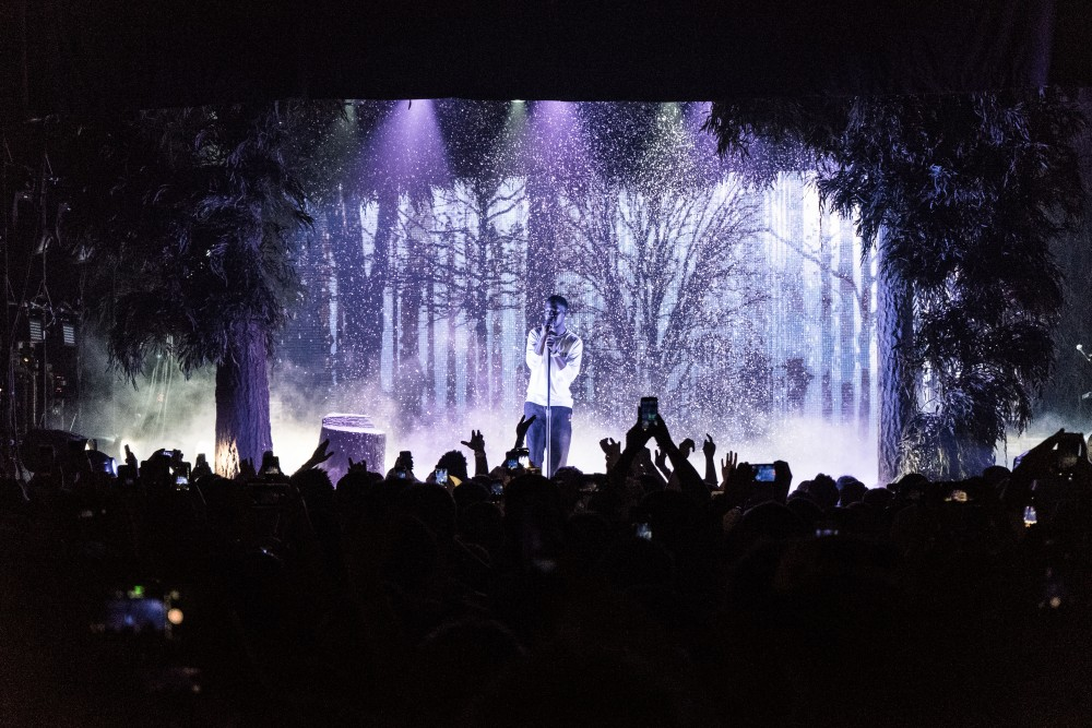 """Cleveland rapper Kid Cudi made a stop at Myth Live on Monday night, a stop along his Passion, Pain, & Demon Slayin' Tour following the release of his album last year. Cudi was the only scheduled performer for the tour, but surprised the crowd by bringing out King Chip, a previous collaborator with Cudi on his single """"Just What I Am."""" The sold-out crowd was treated to many of his biggest hits throughout his many years in the industry."""