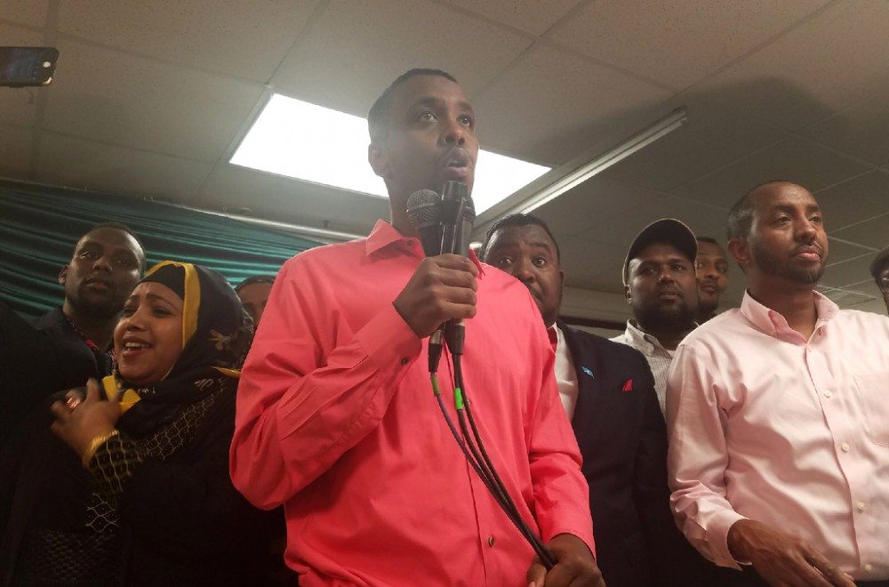 Ward 6 City Council Member Abdi Warsame speaks at his election party on Tuesday, Nov. 7.