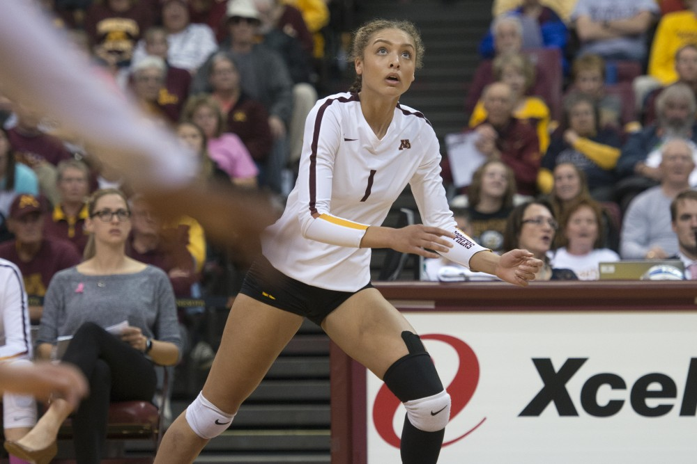Outside hitter Jasmyn Martin prepares to hit the ball against Purdue on Wednesday, Sept. 11, at Maturi Pavilion.