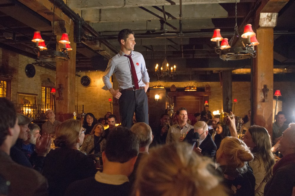 Jacob Frey addresses the crowd during his Election Day party at Jefe: Urban Hacienda on Nov. 7.