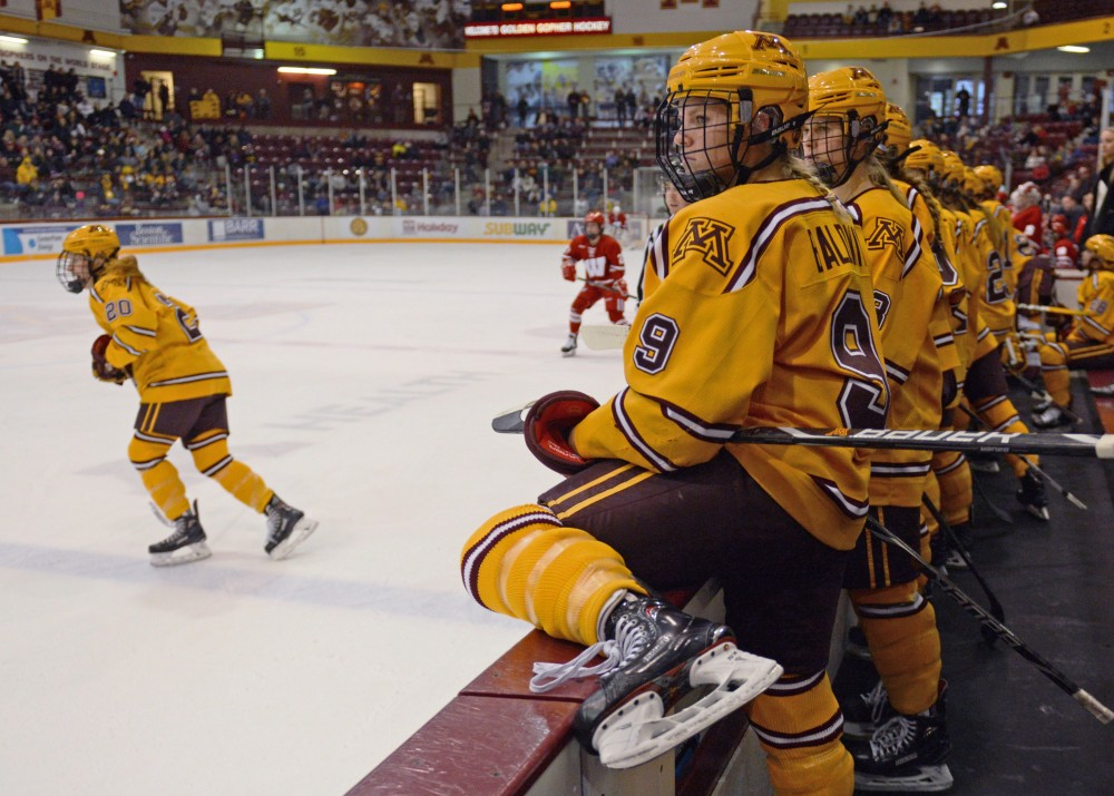 Senior defender Sydney Baldwin prepares to get on the ice at Ridder Arena during the Gophers' game against Wisconsin on Sunday, Oct. 29.