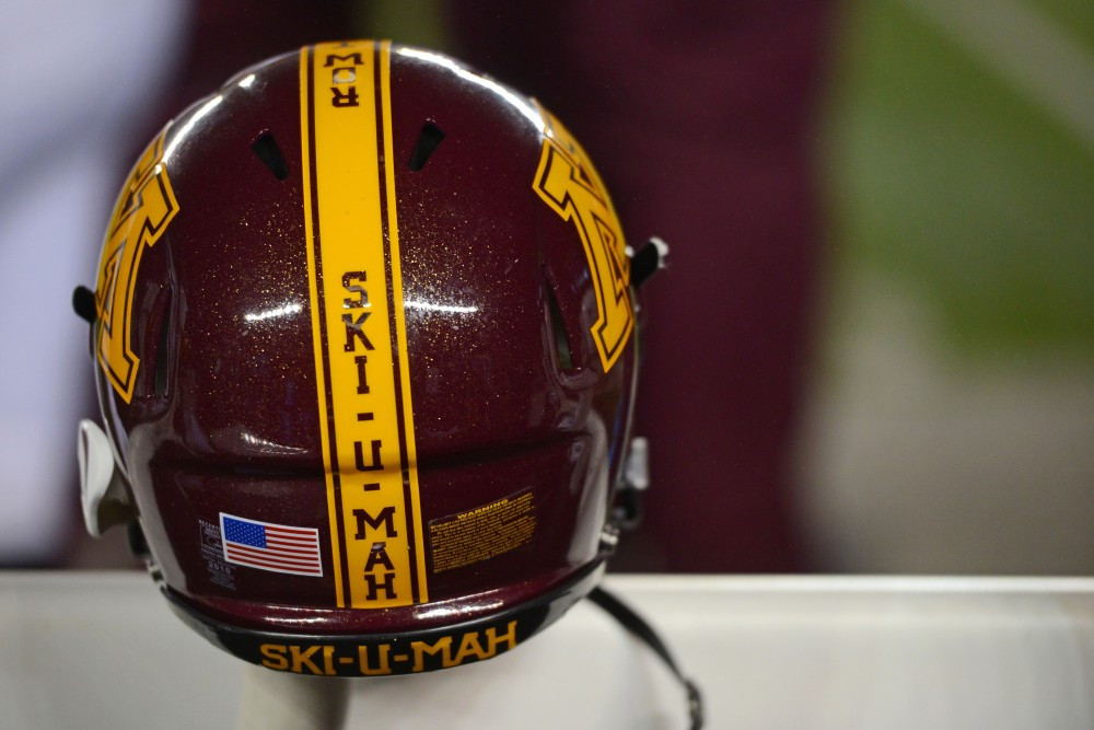 A Gopher helmet hangs on the bench during the game against Michigan on Saturday, Nov. 4, 2017 in Ann Arbor, Mich. The Gophers lost to the Wolverines 33-10.