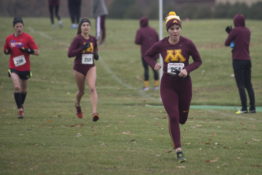 RS Senior Sarah Klecker competes in the Gopher's final home race of the season on Sunday, Nov. 5 at the Les Bolstad Golf Course.