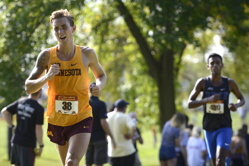 Charlie Lawrence competes at the Roy Griak Invitational at the Les Bolstad Gold Course in St. Paul on Saturday, Sept. 23.