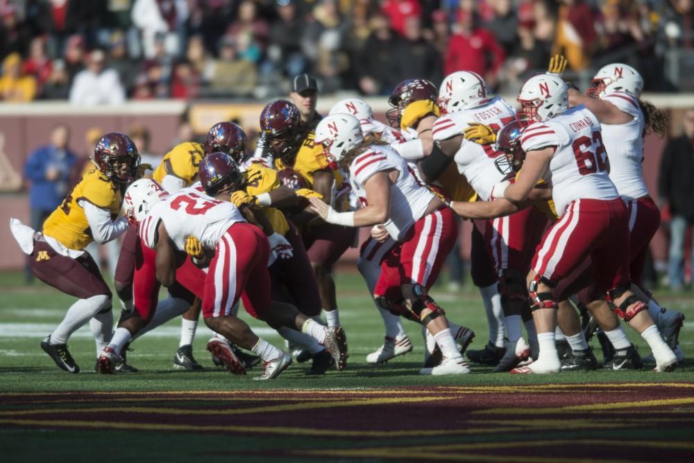 The Gopher defense stops Nebraska at TCF Bank Stadium on Saturday, Nov. 11.