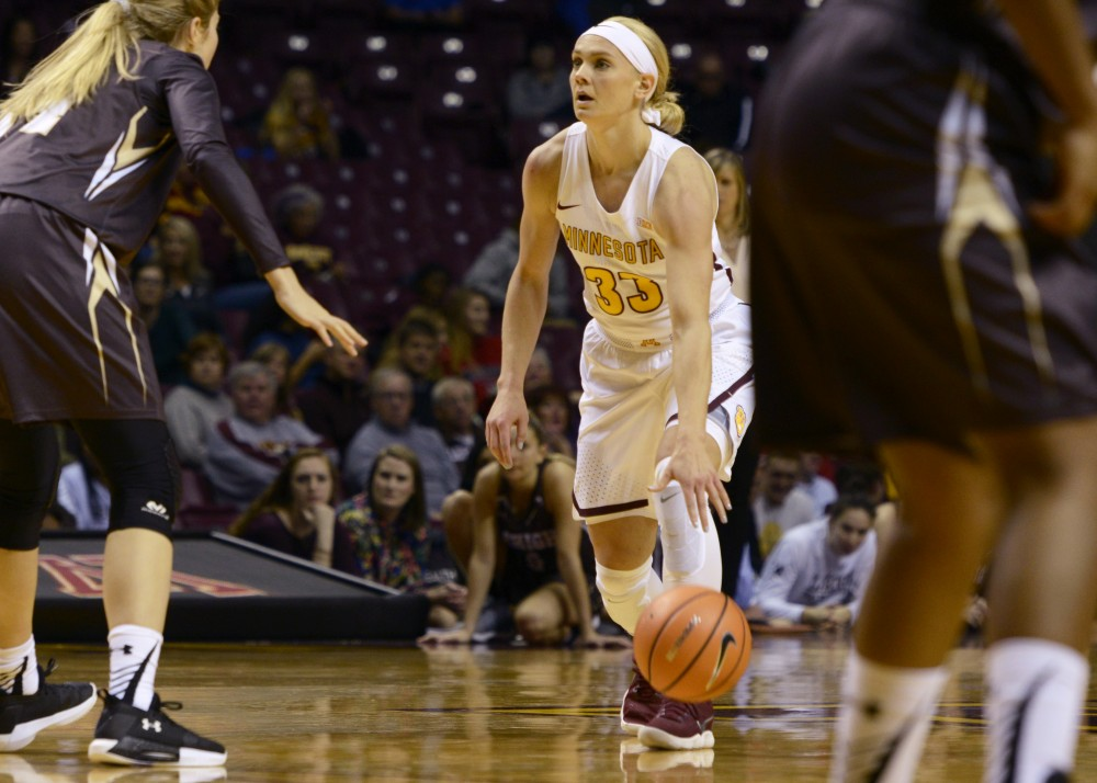 Guard Carlie Wagner dribbles the ball up the court during the Gophers' game against Lehigh at Williams Arena on Saturday, Nov. 11. The Gophers won 107-73.