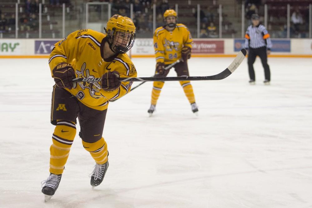 Defenseman Sydney Baldwin passes the puck at Ridder Arena on Saturday, Nov. 18.
