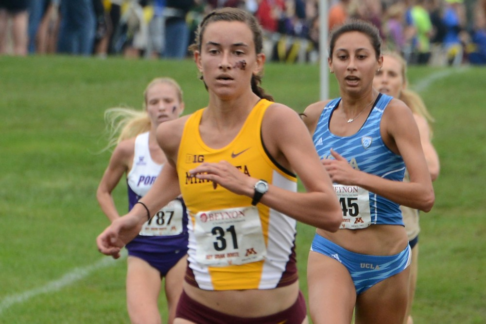 Bethany Hasz runs in the Jack Johnson Women's Gold Race at the Roy Griak Invitational on Saturday, Sept. 24, 2016 at Les Bolstad Golf Course.
