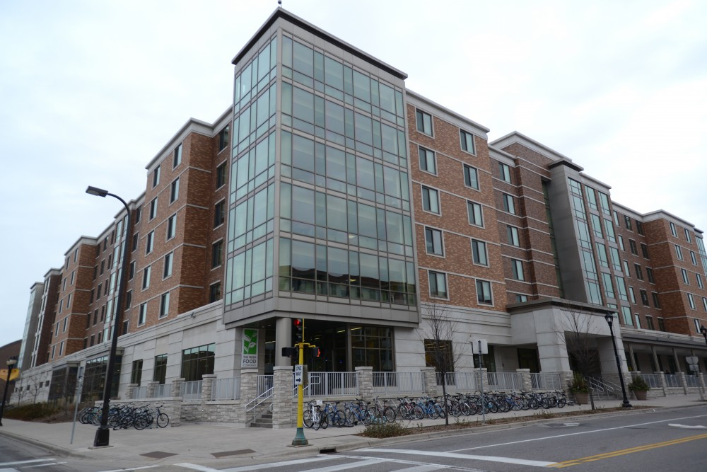 The 17th Avenue Residence Hall as seen on Sunday, Dec. 3. According to an email sent Wednesday, $6,000 in damages, excrement smeared on walls, and exit signs being torn down every weekend has been the scene on the fourth floor of the residence hall since September.