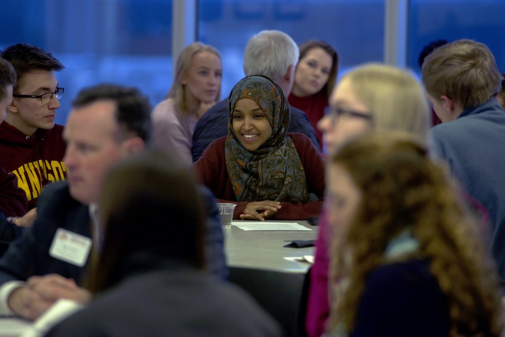 Rep. Ilhan Omar, DFL-Minneapolis, speaks to students at MSAs Cookies with Constituents event at the TCF Bank Stadiums Indoor Club Room on Tuesday, Dec. 5.