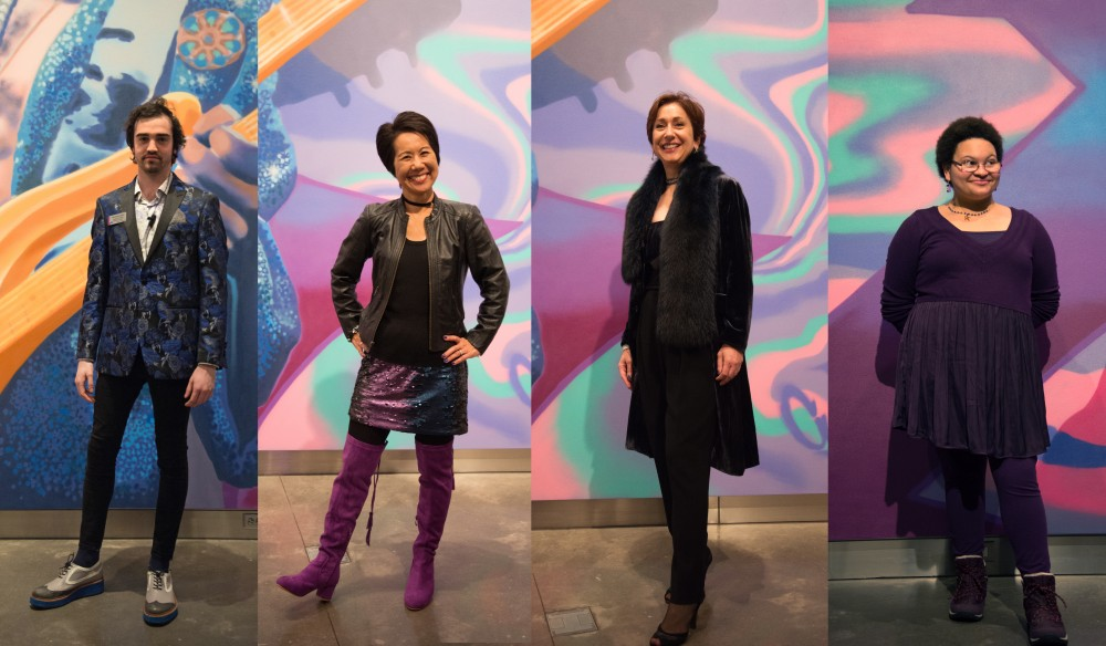 From left, Michael Kreher, Kim Tsujimoto, Shirin Saadat, and Lorraine Lassig pose for portraits during the preview party for the Weisman Art Museum's