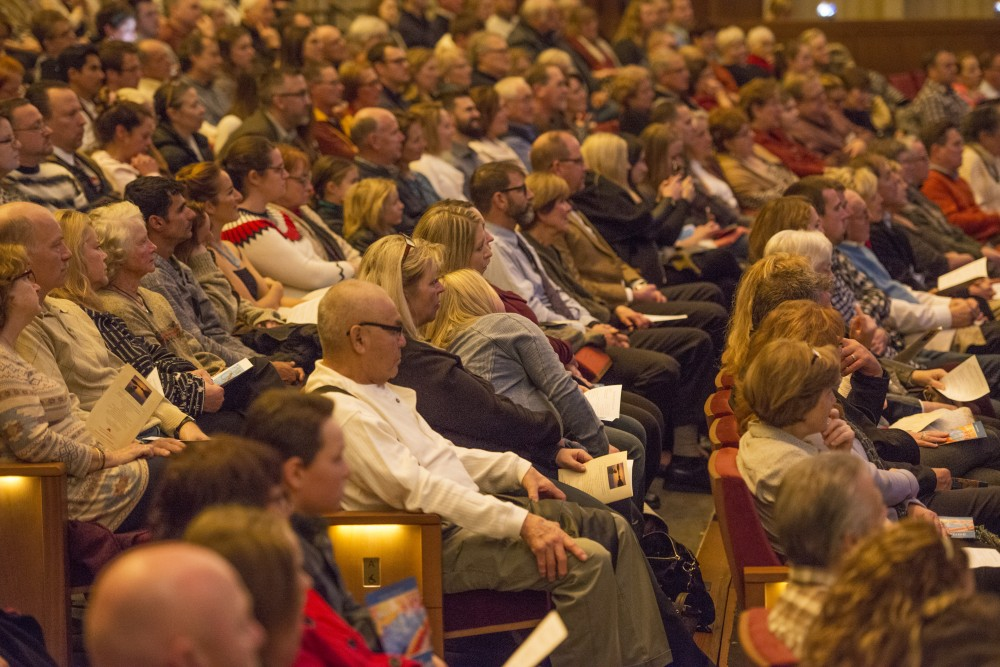 The University of Minnesota Anatomy Bequest Program's Service of Gratitude takes place on Wednesday, Nov. 8, 2017 at Northrop Auditorium in Minneapolis. The program, which facilitates whole body donations throughout the state into research and education at the University, has an annual ceremony to give thanks to donors and their families.