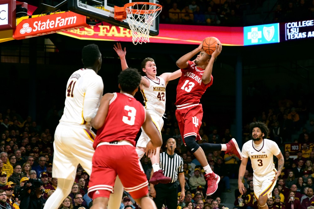 Indiana forward Juwan Morgan attempts to score during Saturday's game. The Gophers lost 75-71.