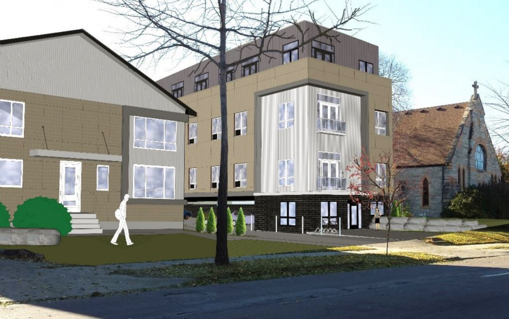 A rendering of the proposed micro-unit apartment building in Marcy-Holmes.