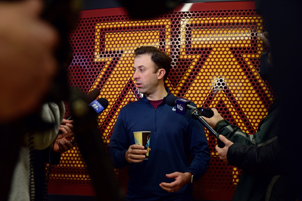 Gophers men's basketball head coach Richard Pitino speaks with media at the new Athlete's Village basketball facilities on Monday. The team held their first practice at the new facility on Jan. 9, 2018.