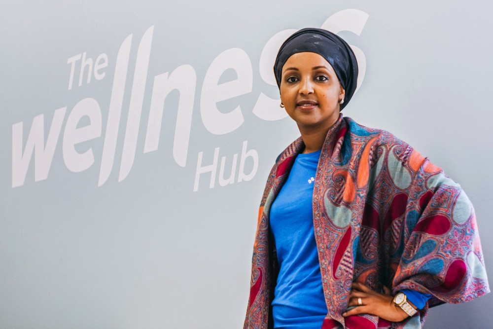 Sahra Noor, CEO at People's Center Clinic & Services, poses at the entrance of the clinic's new Wellness Hub in Cedar-Riverside on Jan. 20. The wellness center will open to the public on Feb. 5.