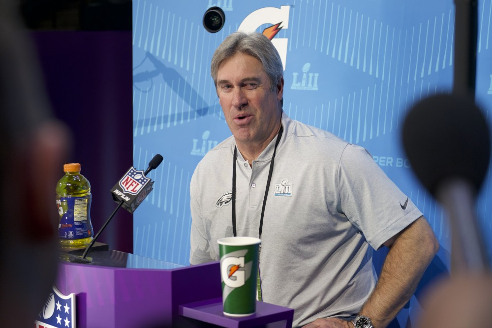 Philadelphia Eagles head coach Doug Pederson speaks with members of the press during the Super Bowl LII Opening Night event at the Xcel Energy Center on Monday.