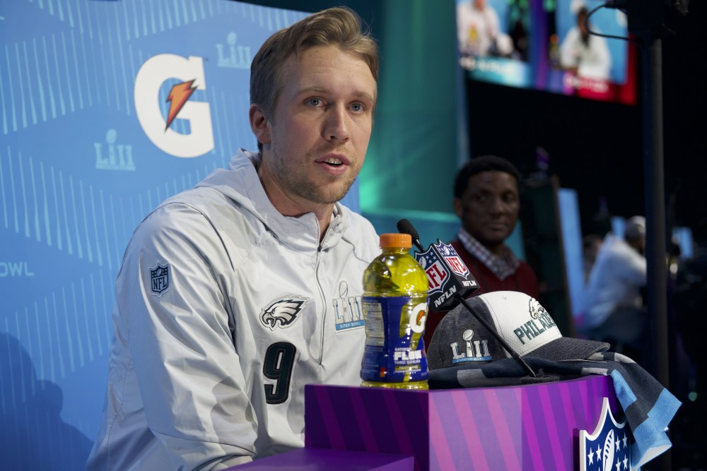Philadelphia Eagles quarterback Nick Foles speaks with members of the press during the Super Bowl LII Opening Night event at the Xcel Energy Center on Monday.