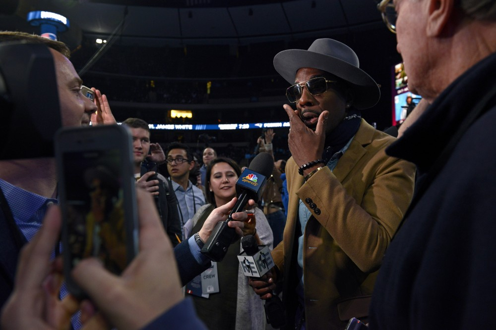Actor J.B. Smoove talks with reporters during the Super Bowl LII Opening Night event at the Xcel Energy Center on Monday. Smoove, known for his role on Curb Your Enthusiasm, covered the event for the Rich Eisen show and spoke with many players throughout the night.