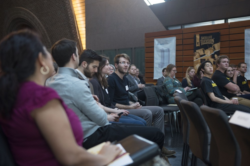A view of the audience at the Startup Capital of the North Showcase in McNamara on Tuesday, Jan. 30.