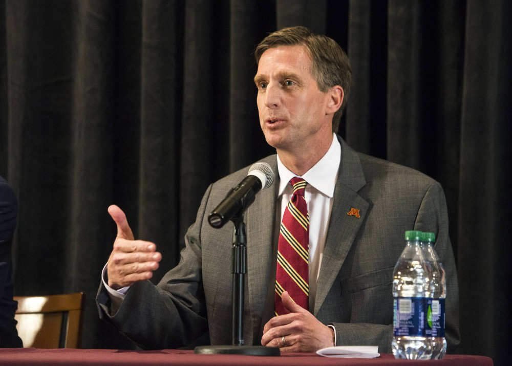 Mark Coyle speaks during a press conference in 2016. Coyle said he has suspended Lynch from the team, but the Gophers basketball player will still be able to practice with the team.