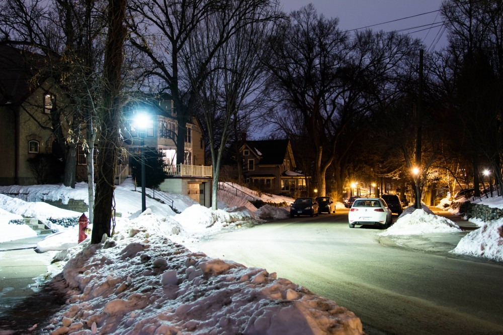 An LED streetlight illuminates Malcolm Avenue Southeast in Prospect Park Tuesday, Jan. 30. Neighbors have expressed concern over the brightness of the new light fixtures as more enter the neighborhood.