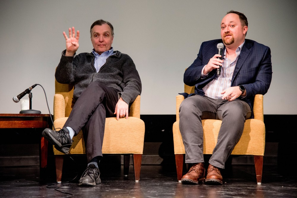 "City counselors Cam Gordon (Ward 2) and Steve Fletcher (Ward 3), as they answer questions about affordable housing and share bad landlord experiences during a ""Housing Town Hall"" event hosted by the MSA at Coffman Memorial Theater, Wednesday Jan. 31."